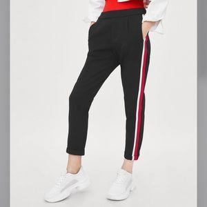 Zara Black Pants with Red/White Stripe